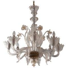Italian Classic Venetian Murano Glass Chandelier Vintage 1950s