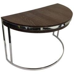 Cerused Oak and Chrome Demilune Desk by Milo Baughman