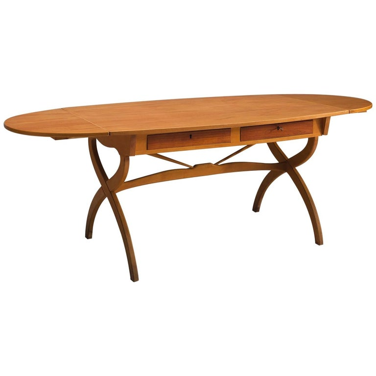 Børge Mogensen Drop-Leaf Writing Table in Teak and Oak For Sale