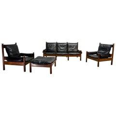 Sturdy Midcentury Scandinavian Black Leather Sofa Set, 1960s