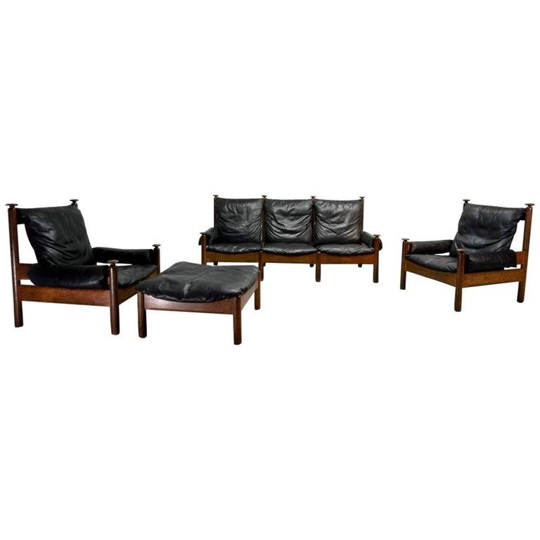 Sturdy Midcentury Scandinavian Black Leather Sofa Set, 1960s At 1stdibs