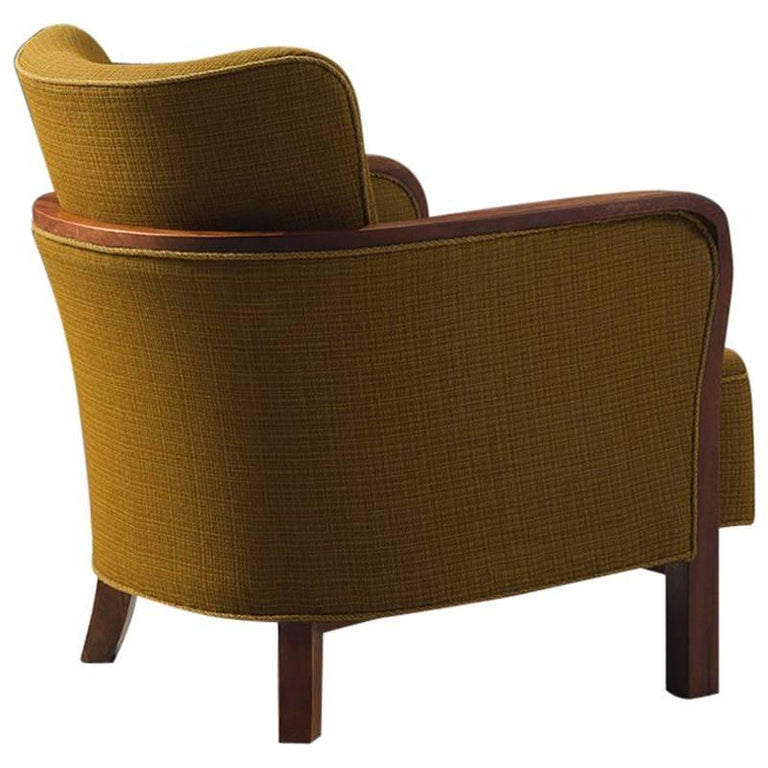 Danish Easy Chair in Ocre Upholstery and Oak