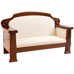 Art Deco Sofa with French Polished Mahogany Frame, Denmark, circa 1920
