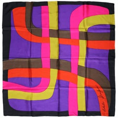 1960 Signature Adele Simpson Silk Scarf, Lush Bold Purple, Pink, Gold and Orange