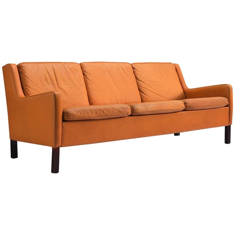 Danish Three-Seat Cognac Leather Sofa For Sale
