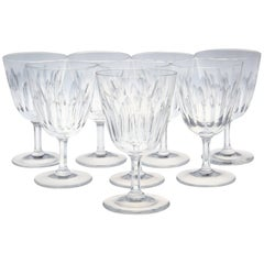 Set of Eight Baccarat Crystal 'Verone' Pattern White Wine Glasses, circa 1950s
