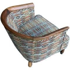 Wonderful Little Rustic Bohemian Upholstered Walnut Edged Slipper Chair Wheels