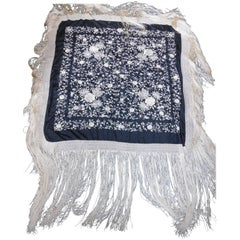 Large Black and White Silk Embroidered Shawl with Long Silk Fringe, circa 1920
