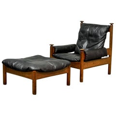 Sturdy Midcentury Black Leather Scandinavian Lounge Chair with Ottoman, 1960s