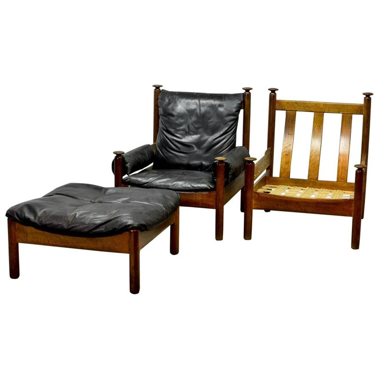 Sturdy Mid Century Black Leather Scandinavian Lounge Chair, 1960s At 1stdibs