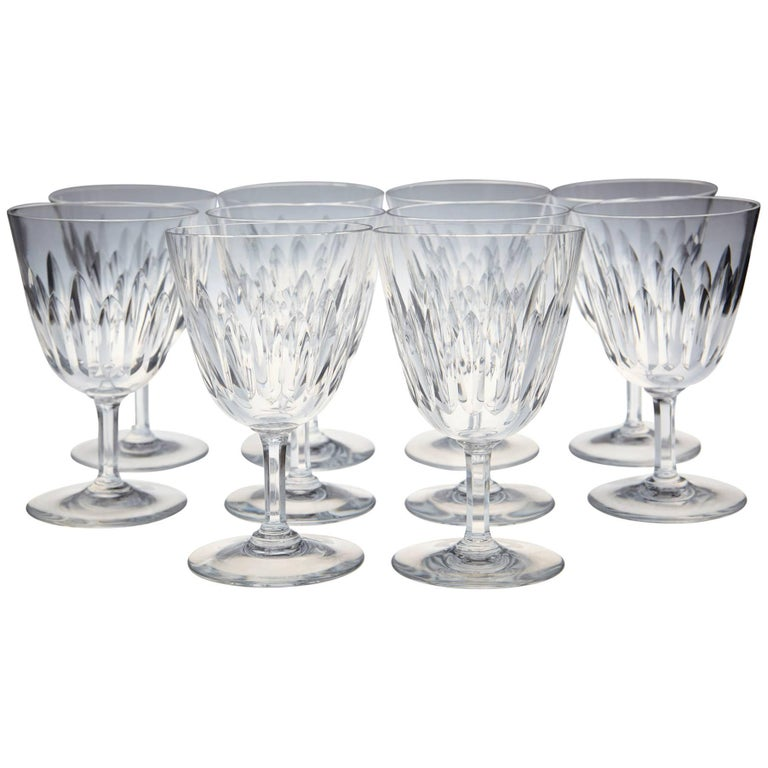 Set of Ten Baccarat Crystal 'Verone' Pattern Red Wine Glasses, circa 1950s