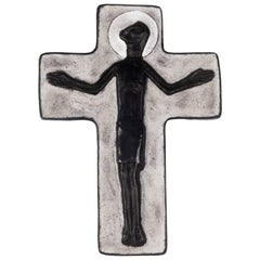 Wall Crucifix in Ceramic, Hand-Painted, Grey, Black, Made in Belgium, 1950s