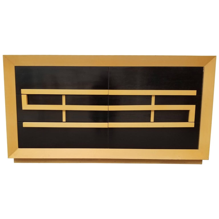 Credenza or Dresser with Two-Tone Black Lacquer Finish
