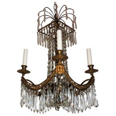 Fine French Bronze Neoclassical Baltic Empire Crystal Square Basket Chandelier