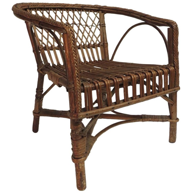 Vintage Rattan and Bamboo Child's Armchair