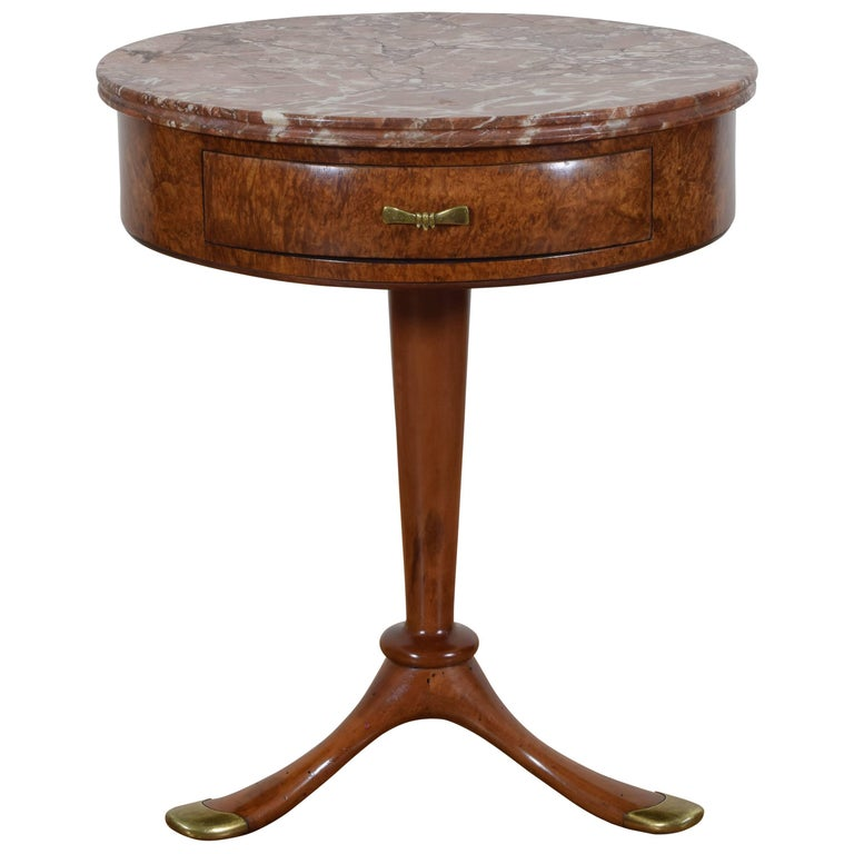 Osvaldo Borsani Side Table in Burl Walnut and Brass with Marble Top, circa 1950