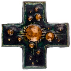 Wall Cross in Ceramic, Hand-Painted, Green, Brown, Made in Belgium, 1970s
