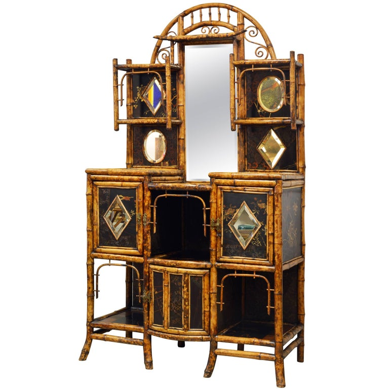 Superior 19th Century English Bamboo and Lacquer Etagere or Hall Tree Cabinet For Sale