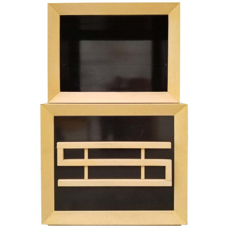 Storage or China Cabinet with Two-Tone Black Lacquer Finish