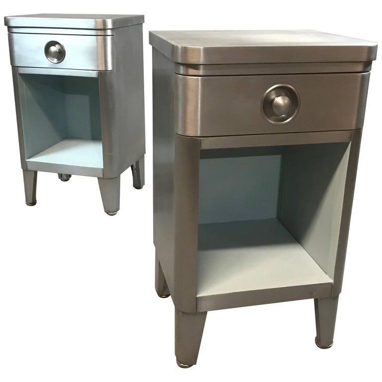 Machine Age Brushed Steel Nightstand End Tables by Norman Bel Geddes for Simmons
