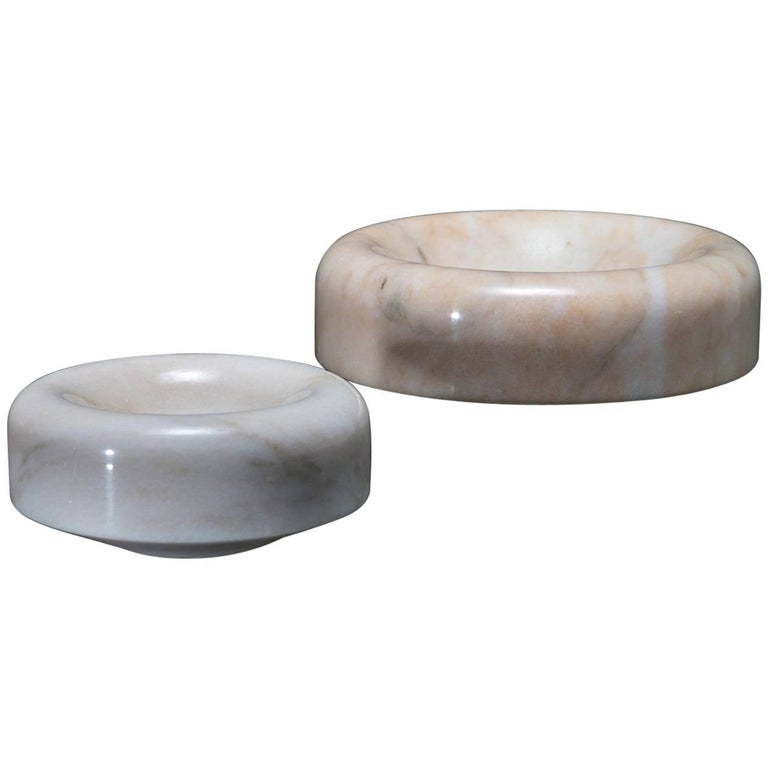 Pair of Marble Centrepieces by Roberto Arioli for Gabbianelli