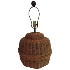Vintage Rattan Round Table Lamp