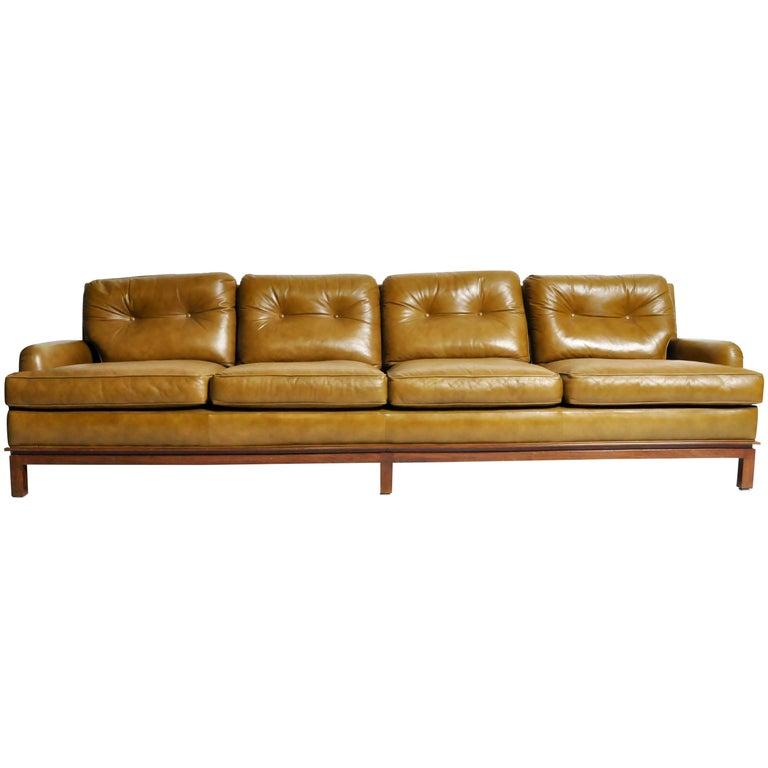 Mid-Century Modern Green Leather Sofa with Hardwood Base