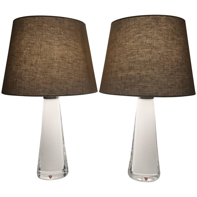 Pair of Swedish Carl Fagerlund White Glass Table Lamps