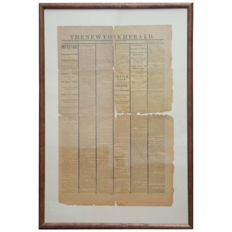 """Antique Newspaper 1865 """"Death of Abe Lincoln"""""""