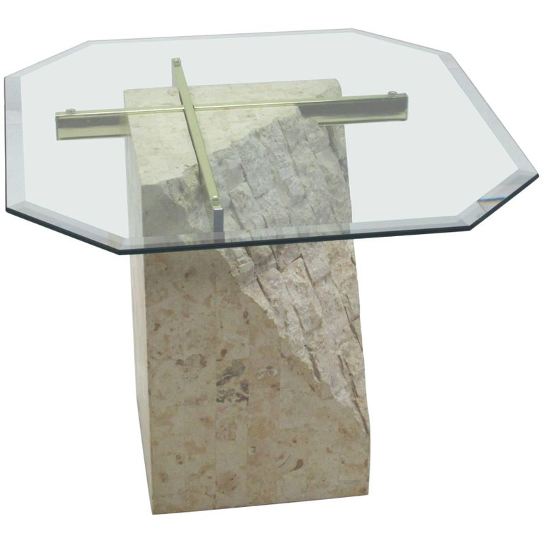 Italian Travertine and Brass Occasional Table with Glass Top by Artedi For Sale