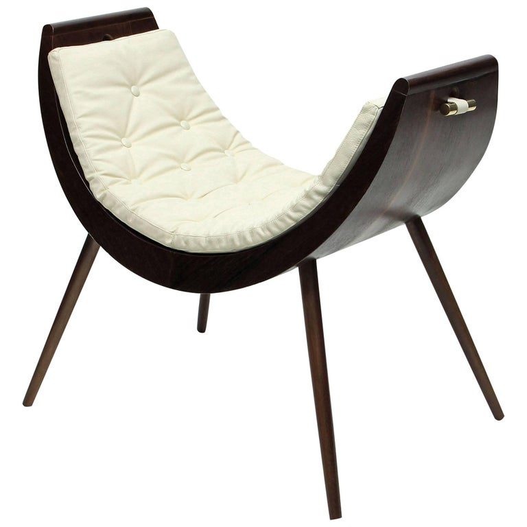 Rita Baiana Armchair, Brazilian Modern Design Style Dark Ipê Wood For Sale