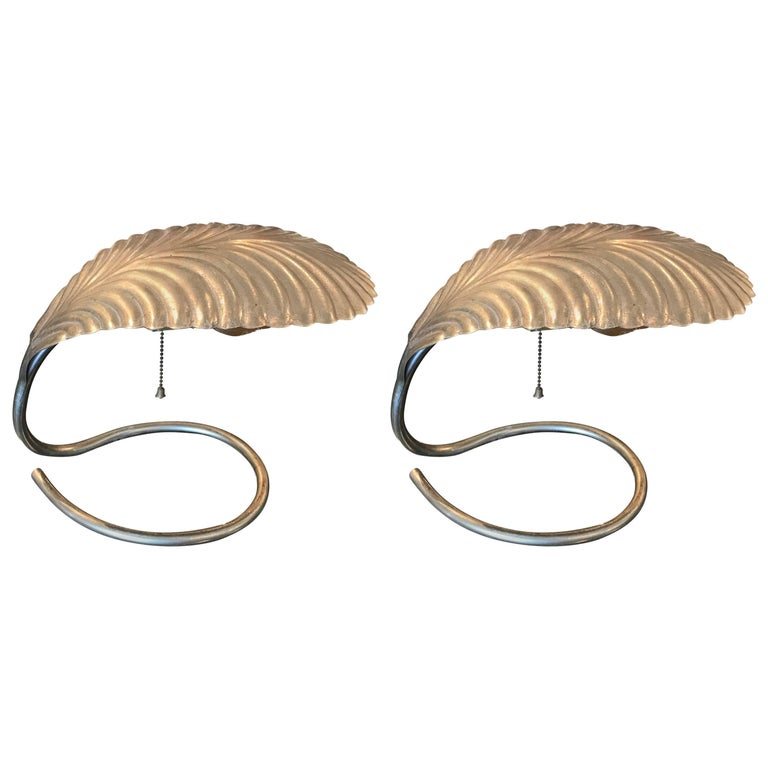 Pair of Tommaso Barbi Style Brass Coated Leaf Table Lamps For Sale
