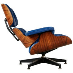 Blue Leather and Rosewood Eames Lounge Chair 670 for Herman Miller, circa 1960
