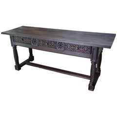 18th Large Spanish Baroque Carved Walnut Refectory Table