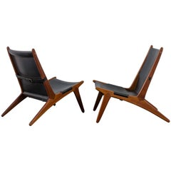 Pair of Hunting Chairs by Uno & Östen Kristiansson for Luxus, Sweden, 1954