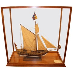 Model of the Stuart Royal Yacht in Wooden Glazed Display Cabinet, circa 1674