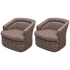 Pair of Modern Milo Baughman Style Club Chairs