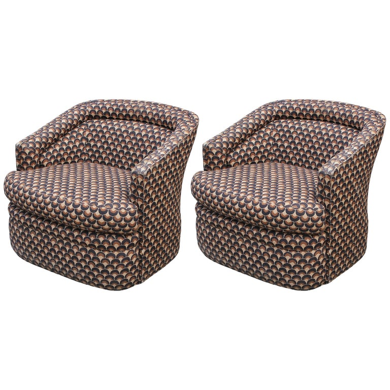 Pair of Modern Milo Baughman Style Club Chairs For Sale