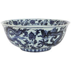 Large Chinese Blue and White Bowl