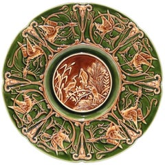 Shutz Blansko Austrian Majolica Plate with Herons, Satyrs, and Scroll-Work