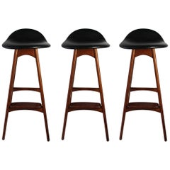 Danish Modern Erik Buch for Oddense Maskinsnedkeri Stools in Teak with Labels
