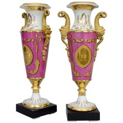 Early 19th Century Pair of  Small Pink Music Themed Vases, Alluaud in Limoges