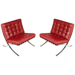 Barcelona Lounge Chairs by Ludwig Mies van der Rohe for Knoll International 1985
