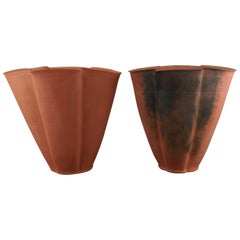 Rare Set of Two Svend Hammershøi Large Unglazed Earthenware Vases, 1930