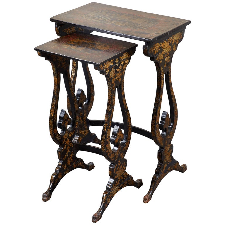Pair of 19th Century English Chinoiserie Pine Tables