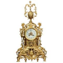 Japy Freres Large Gilt Bronze Clock