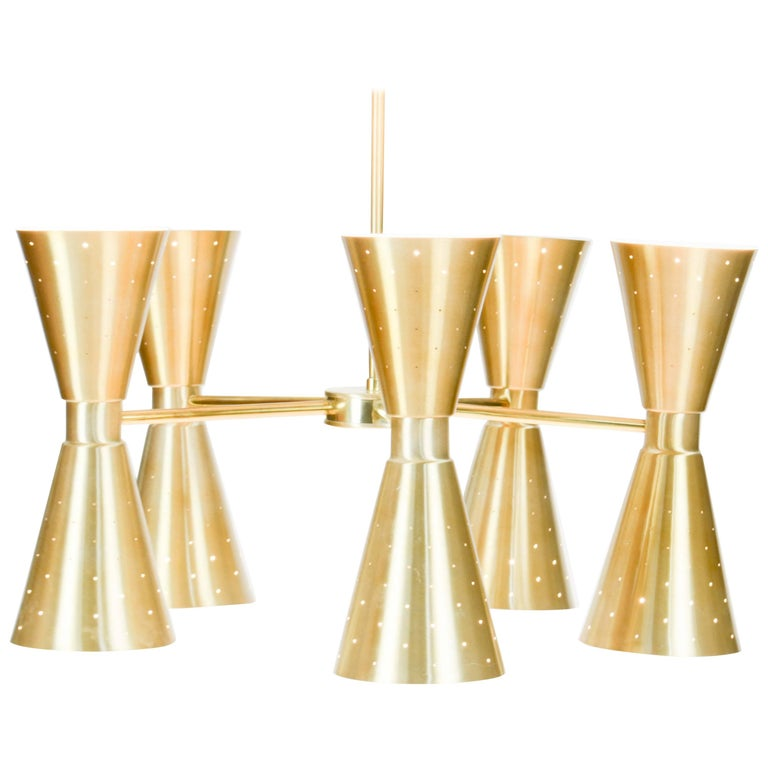 Up to Five 1960s Brass Starlite Chandeliers with Double Ended Fluted Cones 1