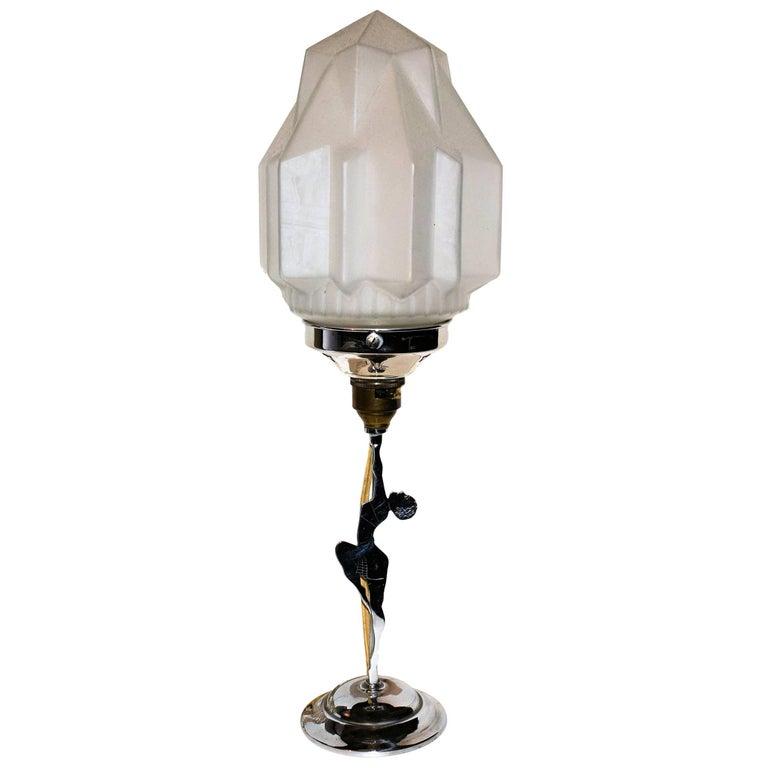 Art Deco Chrome Figural Lady Table Lamp