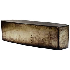 Angular Coffee Table or Bench in Oxidized Steel and Granite, circa 1987