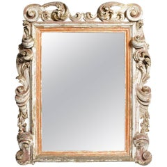 19th Century Italian Mirror with Carved Scroll-Work